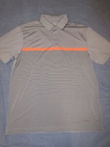 Men's UNDER ARMOUR Gray/Orange Striped POLO Style Shirt - Size Large - Loose Fit