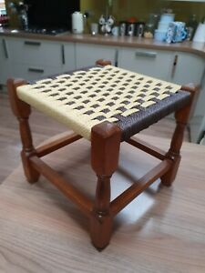 Vintage Small Wooden Wicker Woven Rattan Seagrass Stool Footstool