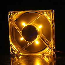 Yellow Colour 4PIN LED Neon Light 80mm x 25mm Computer CPU DC Cooling Case Fan