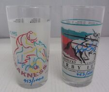 Set of 2 1993 Glass Winning Jockey Signed Cups From Kentuky Derby and Preakness