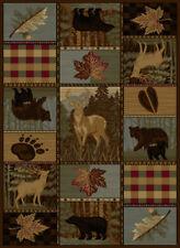 """Rustic Lodge Leaves Bears Deer Plaid Brown 8x11 Area Rug : Actual 7'10"""" x 10'3"""""""
