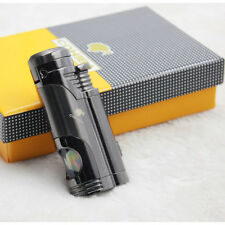 COHIBA Grey Delica Metal 2Torch Jet Flame Cigar Cigarette Lighter W/ Punch