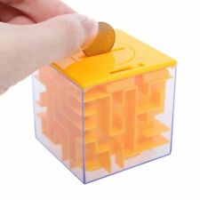 3D Money Maze Bank Cube Puzzle Saving Coin Collection Case Box Brain Game Kids