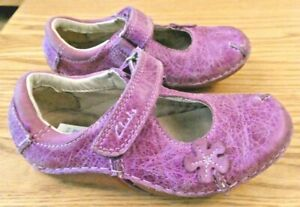 Gorgeous Clarks Baby Girls Mottled Purple Leather Mary Jane Shoes 5.5F Superb
