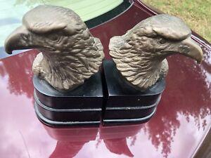 Cast Metal Bronze Finish Eagle Head Bookends San Pacific