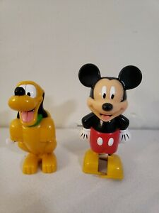 """Walt Disney Wind Up Toys Mickey Mouse Pluto 3.5"""" Figures Tested Working"""