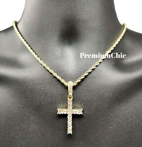 Iced Cross Pendant with 3MM Rope Chain Necklace Mens Hip Hop Gold Plated Jewelry