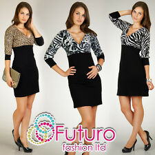 Beautifull & Elegance Women's Dress Zebra Panther V-Neck Size 8 - 16 FT946