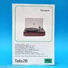 Türkis 216 Plattenspieler DDR 1976 | Prospekt Werbung Werbeblatt DEWAG P56 C