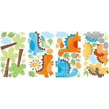BABY DINOSAURS wall stickers 42 decals TYRANNOSAURS TREES BRONTOSAURUS scrapbook
