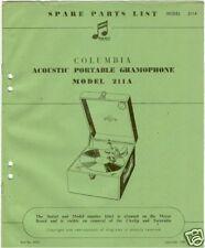 original  part list columbia 211 a portable gramophone