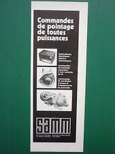 6/1976 PUB SAMM ELECTROHYDRAULIQUE COMMANDE ELECTRIQUE DE POINTAGE ARMEE CHAR AD