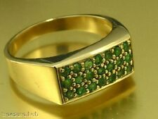 R153 Genuine 9ct Solid Yellow  GOLD NATURAL EMERALD Pave set Ring Mens size W