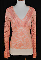 VTG Moda 90s Fitted Stretch Lace Sheer Pink Chic BoHo Blouse Shirt Top M