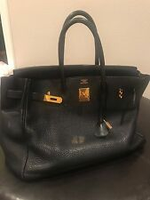 Authentic Hermes Black birkin with gold 35 in good condition