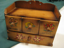 SMALL Vintage SEWING NOTIONS Wood BOX Cabinet CHEST~4 Drawers