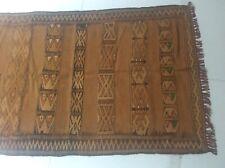 Vintage nomadic Turkish Anatolia wool rug faded cinnamon brown 134cm x 85cm