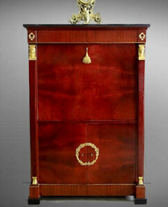 Antiqur Vintage French Empire Bar Cabinet, Cupboard, Sideboard, Mahogany, Marble