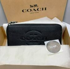 ORIGINAL COACH Men's Wallet Accordion Zipper Black Leather F24648