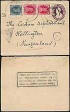 INDIA to NEW ZEALAND 1941 UPRATED STATIONERY TRIANGULAR CENSOR + ADDRESS CACHET
