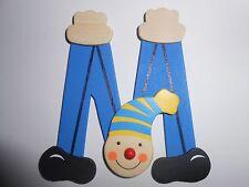 Lettre prenom de porte clown en bois M BLEU, décoration de porte jeu et jouets**