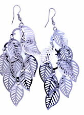 Boho style silvery black coloured cutout leaf chandelier earrings