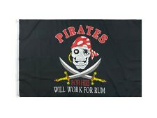 Pirates for Hire Pirate Flag 3x5ft Boat Flag Jolly Roger Flag Will Work for Rum