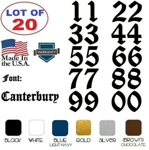 Lot of 20 White,Black Vinyl Street Address,Mailbox Number Decal Stickers CANTERB