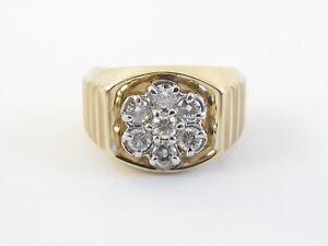 14k Yellow Gold Men's Diamond Ring Size 9 1/2  0.75 carat