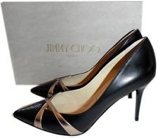 a248b178fc15 Jimmy Choo Haxeel  Pointy Toe Pump Black   Rose Gold Criss Cross Shoes 40.5