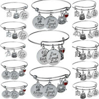 18th 21st 25th 30th 40th 50th Birthday Gifts Bangle Charm Bracelet Family Love