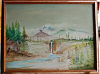 OrigFolk Art Oil, Mountain Waterfall Scene in Pale Hues Framed Sgned Illegible