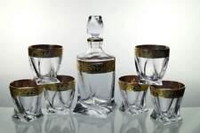 Bohemia Whisky-Set 6 Whiskygläser + Karaffe aus Crystalite mit Goldverzierung