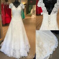 Lace Appliques Beaded Wedding Dresses Cap Sleeve White/Ivory Beach Bridal Gowns