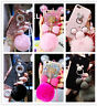 For iPhone 5/SE/6s/7 Plus Fluffy Rabbit Fur Ball Glitter TPU Girl's Case Cover