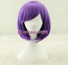 Free shipping Girl Purple Wig Short bob cosplay hair wig +a wig cap