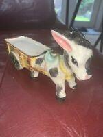 Vintage Ceramic Donkey Cart Wagon Figurine Japan Pottery
