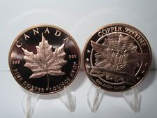 Canadian Maple Leaf - Lot of 2 Copper Rounds .999