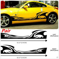 2X Car SUV Body Side DIY Decal Vinyl Flame Graphics Stripes SPRAY STYLE Sticker