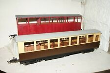 G scale 45mm 2x KITBUILT Large Bogie Coach Red Brown/Cream Livery with Choppers