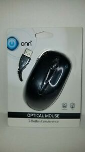 Optical Mouse ONN 3 Button USB Wired for Computer Laptop PC Mac A6