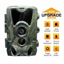 16MP 1080P Trail Game Camera with 32GB TF Card & SD Card Adapter Night Vision