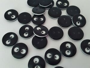 """10 Black & White Sewing Eye Buttons 12mm (1/2"""") for Childrens Clothing Crafts"""