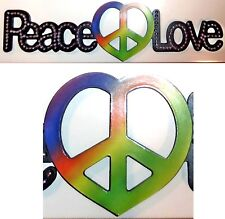 "LOVE HEART PEACE SYMBOL Hippy WALL ART Sign 5"" by 20"" by 1/2"" SILVER-TONE STUDS"