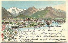 Interlaken nach Hanau, Gesamtansicht, Farb-Litho, 1898