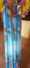 Vestito nuovo taglia unica S M L 42 44 46 lungo celeste fiori giallo