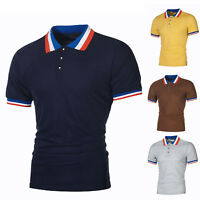 New Men Plain Fit Polo Top Casual Cotton Short Sleeve T Shirt Sport Golf Blouse