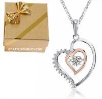 Halskette Herzkette ❤️ Anhänger in Echt 925 Silber Rosegold Geschenke für Frauen