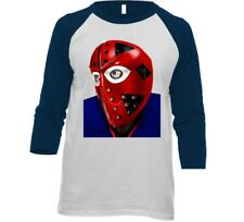 New York Islanders Billy Smith 3/4 Sleeve Tee Shirt Hockey Goalie Mask T-shirt