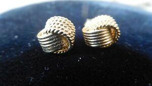 Gold tone Classic Love Mesh Knot Stud Post Earrings
